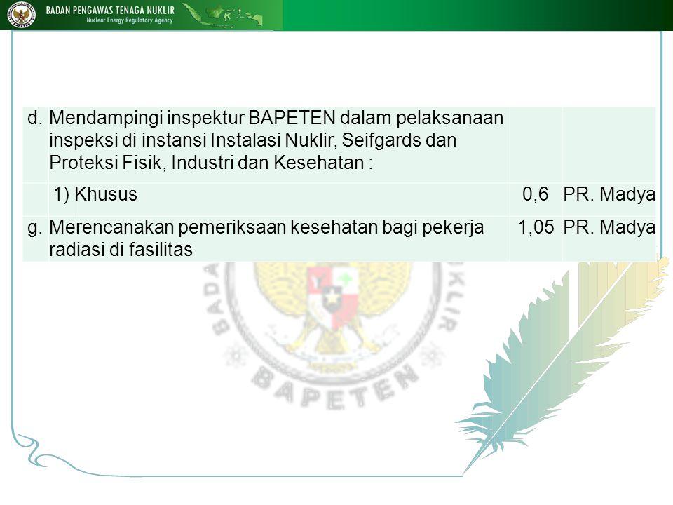 d.Mendampingi inspektur BAPETEN dalam pelaksanaan inspeksi di instansi Instalasi Nuklir, Seifgards dan Proteksi Fisik, Industri dan Kesehatan : 1)Khusus0,6PR.