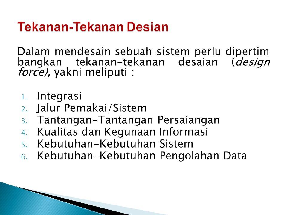 Dalam mendesain sebuah sistem perlu dipertim bangkan tekanan-tekanan desaian (design force), yakni meliputi : 1. Integrasi 2. Jalur Pemakai/Sistem 3.