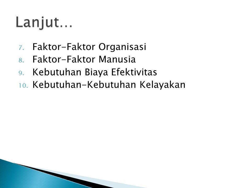 7. Faktor-Faktor Organisasi 8. Faktor-Faktor Manusia 9. Kebutuhan Biaya Efektivitas 10. Kebutuhan-Kebutuhan Kelayakan