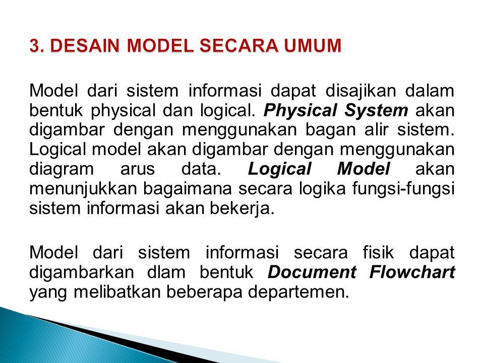 Model dari sistem informasi dapat disajikan dalam bentuk physical dan logical. Physical System akan digambar dengan menggunakan bagan alir sistem. Log