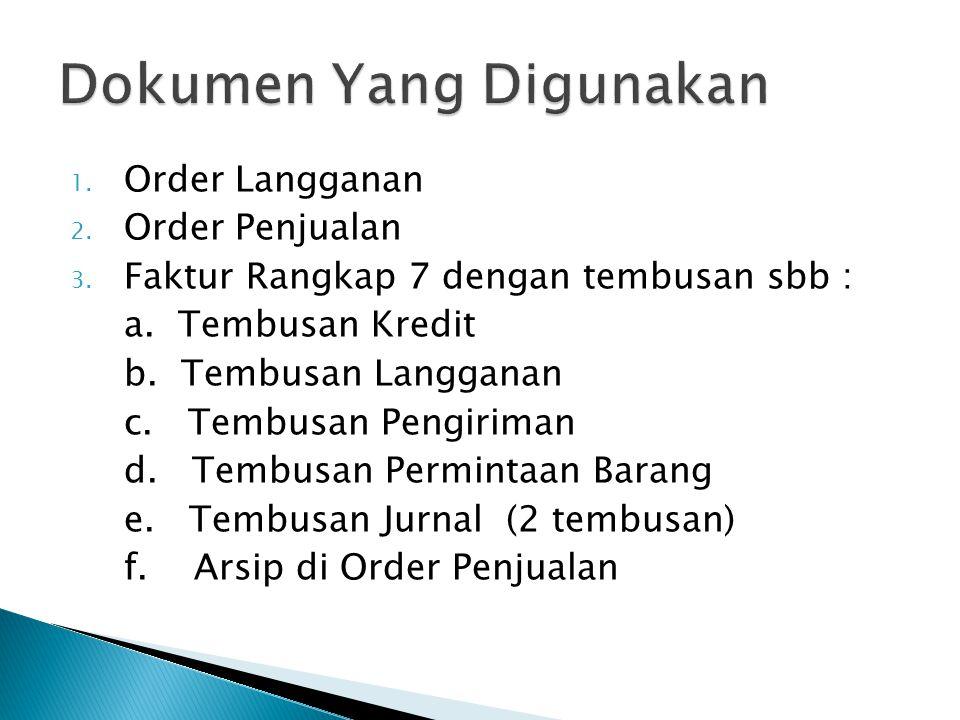 1. Order Langganan 2. Order Penjualan 3. Faktur Rangkap 7 dengan tembusan sbb : a. Tembusan Kredit b. Tembusan Langganan c. Tembusan Pengiriman d. Tem
