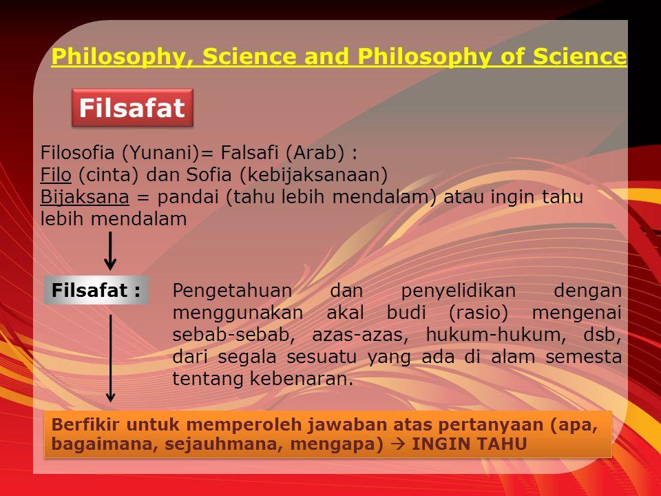 Philosophy, Science and Philosophy of Science Filsafat Filosofia (Yunani)= Falsafi (Arab) : Filo (cinta) dan Sofia (kebijaksanaan) Bijaksana = pandai