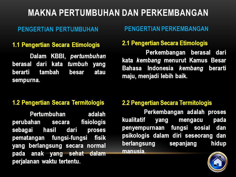 2.1 Pengertian Secara Etimologis Perkembangan berasal dari kata kembang menurut Kamus Besar Bahasa Indonesia kembang berarti maju, menjadi lebih baik.