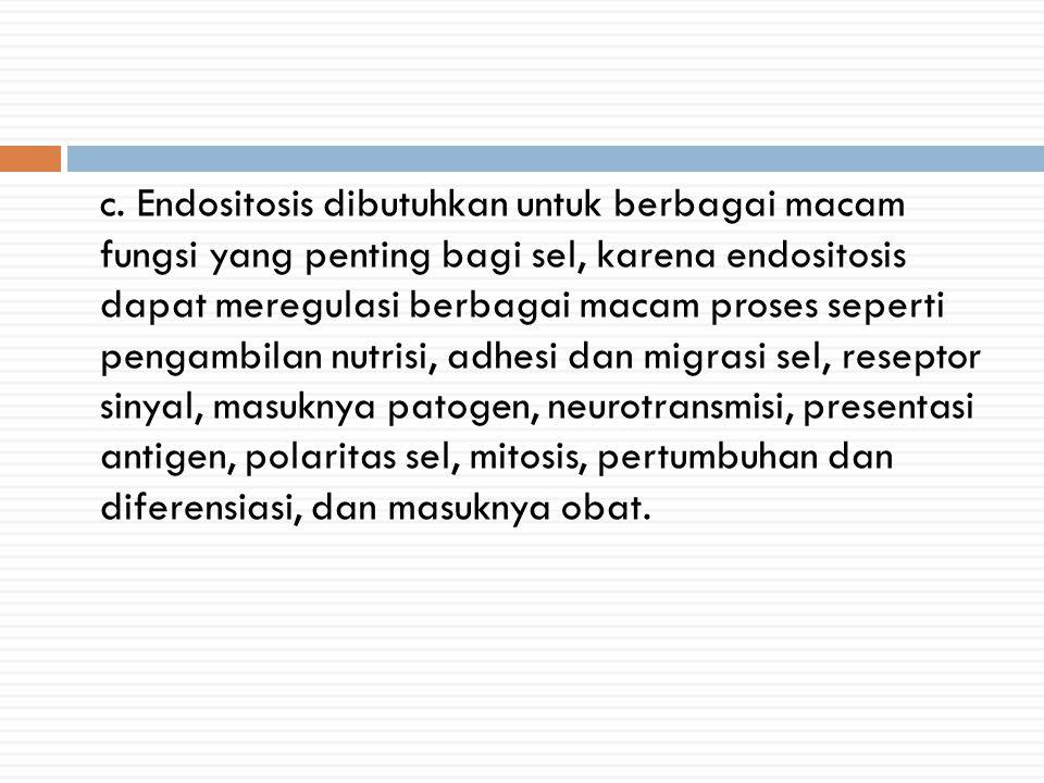 c. Endositosis dibutuhkan untuk berbagai macam fungsi yang penting bagi sel, karena endositosis dapat meregulasi berbagai macam proses seperti pengamb
