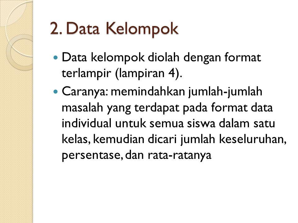 2. Data Kelompok Data kelompok diolah dengan format terlampir (lampiran 4). Caranya: memindahkan jumlah-jumlah masalah yang terdapat pada format data