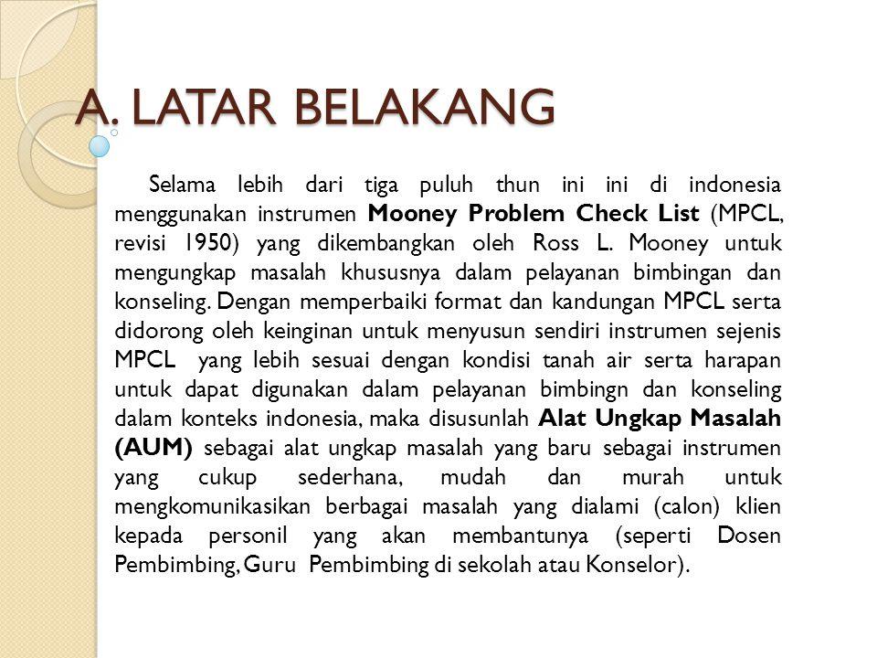A. LATAR BELAKANG Selama lebih dari tiga puluh thun ini ini di indonesia menggunakan instrumen Mooney Problem Check List (MPCL, revisi 1950) yang dike