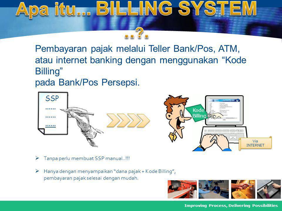 COMPANY LOGO Improving Process, Delivering Possibilities Pembayaran pajak melalui Teller Bank/Pos, ATM, atau internet banking dengan menggunakan Kode Billing pada Bank/Pos Persepsi.