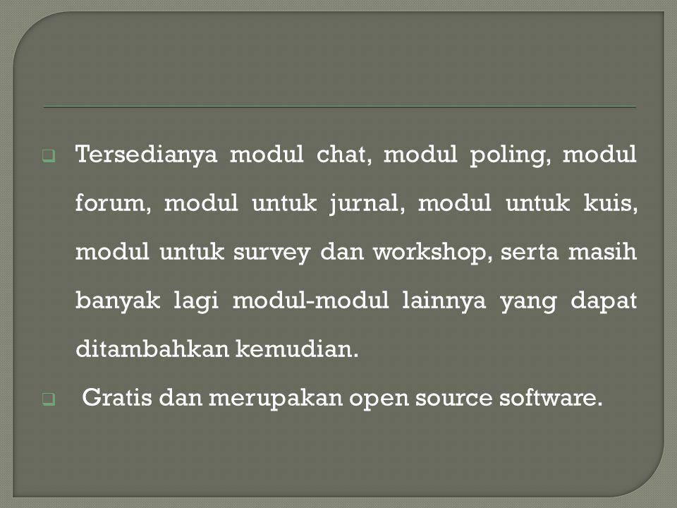  Tersedianya modul chat, modul poling, modul forum, modul untuk jurnal, modul untuk kuis, modul untuk survey dan workshop, serta masih banyak lagi modul-modul lainnya yang dapat ditambahkan kemudian.