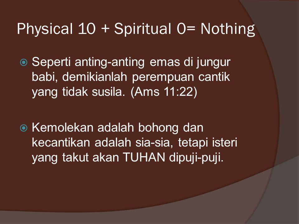 Physical 10 + Spiritual 0= Nothing  Seperti anting-anting emas di jungur babi, demikianlah perempuan cantik yang tidak susila. (Ams 11:22)  Kemoleka