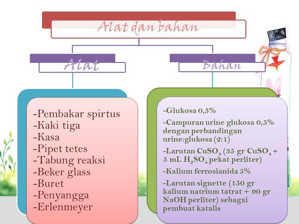 Alat dan bahan Alat -Pembakar spirtus -Kaki tiga -Kasa -Pipet tetes -Tabung reaksi -Beker glass -Buret -Penyangga -Erlenmeyer Bahan -Glukosa 0,5% -Campuran urine glukosa 0,5% dengan perbandingan urine:glukosa (2:1) -Larutan CuSO4 (35 gr CuSO4 + 5 mL H 2 SO4 pekat perliter) -Kalium ferrosianida 5% -Larutan signette (150 gr kalium natrium tatrat + 90 gr NaOH perliter) sebagai pembuat katalis