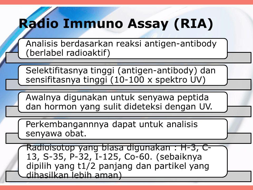Radio Immuno Assay (RIA) Analisis berdasarkan reaksi antigen-antibody (berlabel radioaktif) Selektifitasnya tinggi (antigen-antibody) dan sensifitasny