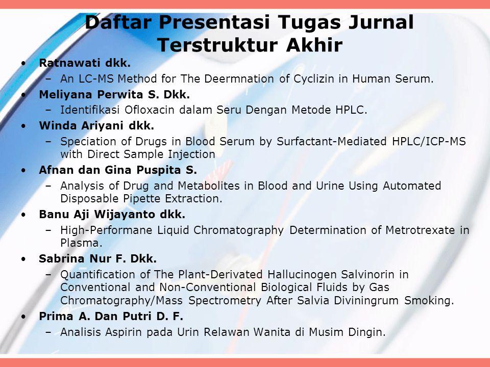 Daftar Presentasi Tugas Jurnal Terstruktur Akhir Ratnawati dkk. –An LC-MS Method for The Deermnation of Cyclizin in Human Serum. Meliyana Perwita S. D