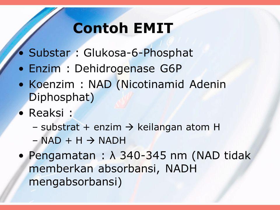 Contoh EMIT Substar : Glukosa-6-Phosphat Enzim : Dehidrogenase G6P Koenzim : NAD (Nicotinamid Adenin Diphosphat) Reaksi : –substrat + enzim  keilanga