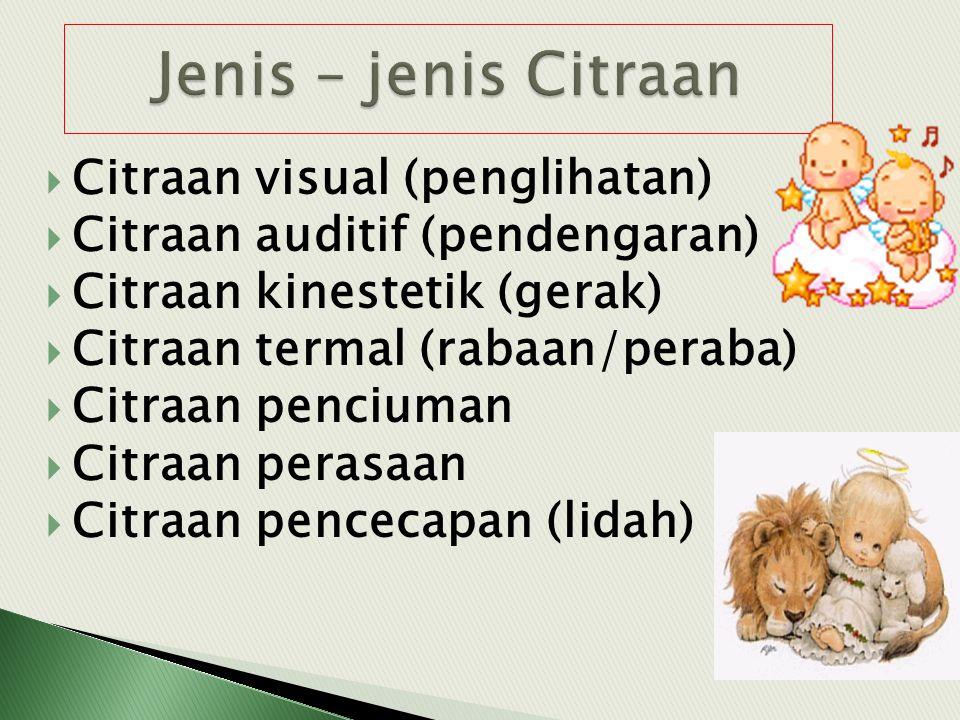 CCitraan visual (penglihatan) CCitraan auditif (pendengaran) CCitraan kinestetik (gerak) CCitraan termal (rabaan/peraba) CCitraan penciuman