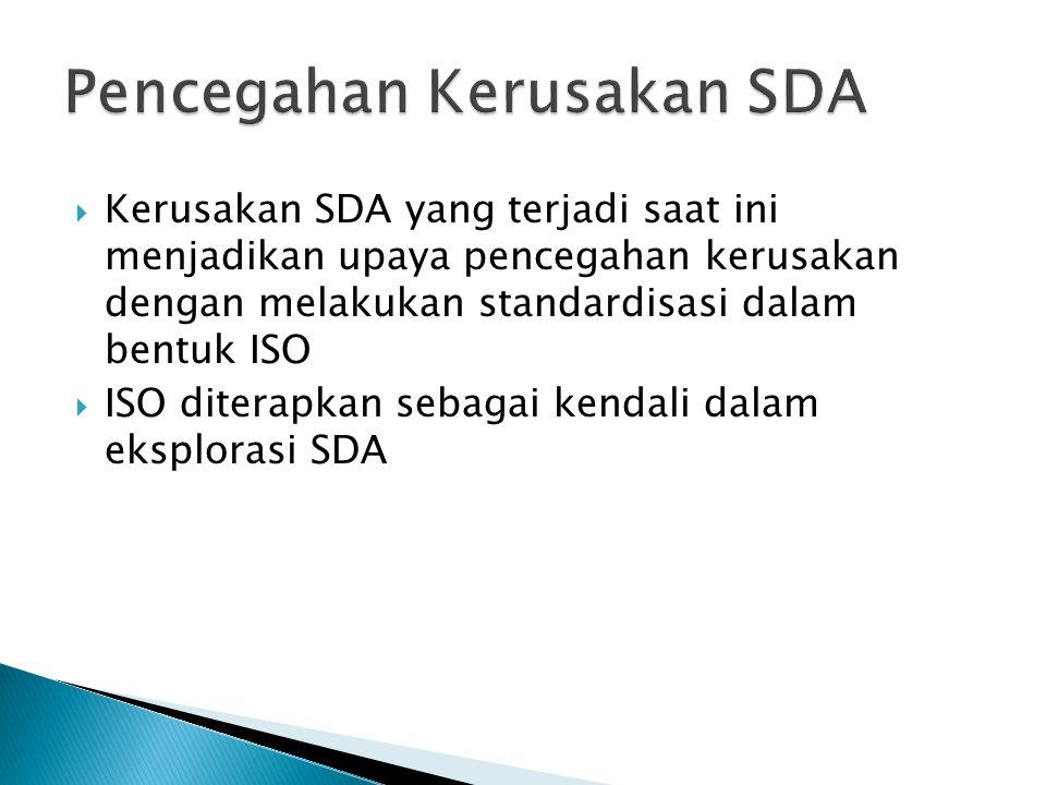 Kerusakan SDA yang terjadi saat ini menjadikan upaya pencegahan kerusakan dengan melakukan standardisasi dalam bentuk ISO  ISO diterapkan sebagai k