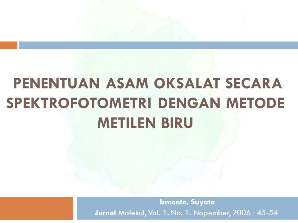 PENENTUAN ASAM OKSALAT SECARA SPEKTROFOTOMETRI DENGAN METODE METILEN BIRU Irmanto, Suyata Jurnal Molekul, Vol. 1. No. 1. Nopember, 2006 : 45-54