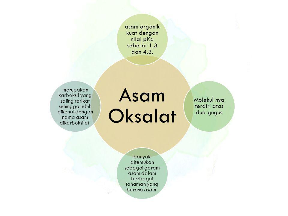 Asam Oksalat asam organik kuat dengan nilai pKa sebesar 1,3 dan 4,3. Molekul nya terdiri atas dua gugus banyak ditemukan sebagai garam asam dalam berb