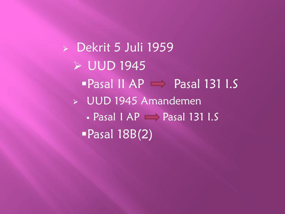  Dekrit 5 Juli 1959  UUD 1945  Pasal II AP Pasal 131 I.S  UUD 1945 Amandemen  Pasal I AP Pasal 131 I.S  Pasal 18B(2)