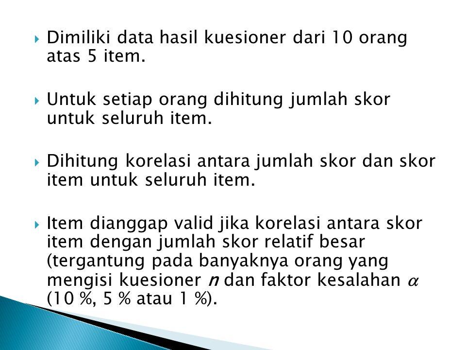  Dimiliki data hasil kuesioner dari 10 orang atas 5 item.  Untuk setiap orang dihitung jumlah skor untuk seluruh item.  Dihitung korelasi antara ju