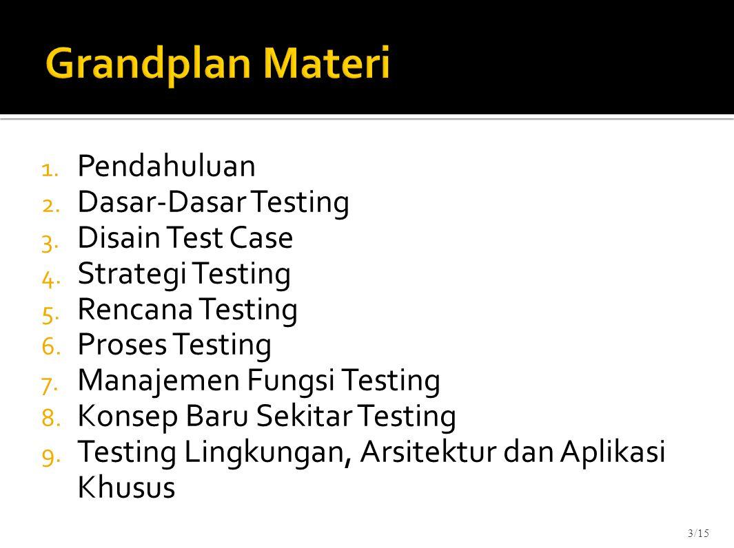 1. Pendahuluan 2. Dasar-Dasar Testing 3. Disain Test Case 4. Strategi Testing 5. Rencana Testing 6. Proses Testing 7. Manajemen Fungsi Testing 8. Kons