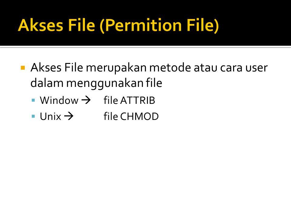 Akses File merupakan metode atau cara user dalam menggunakan file  Window  file ATTRIB  Unix  file CHMOD