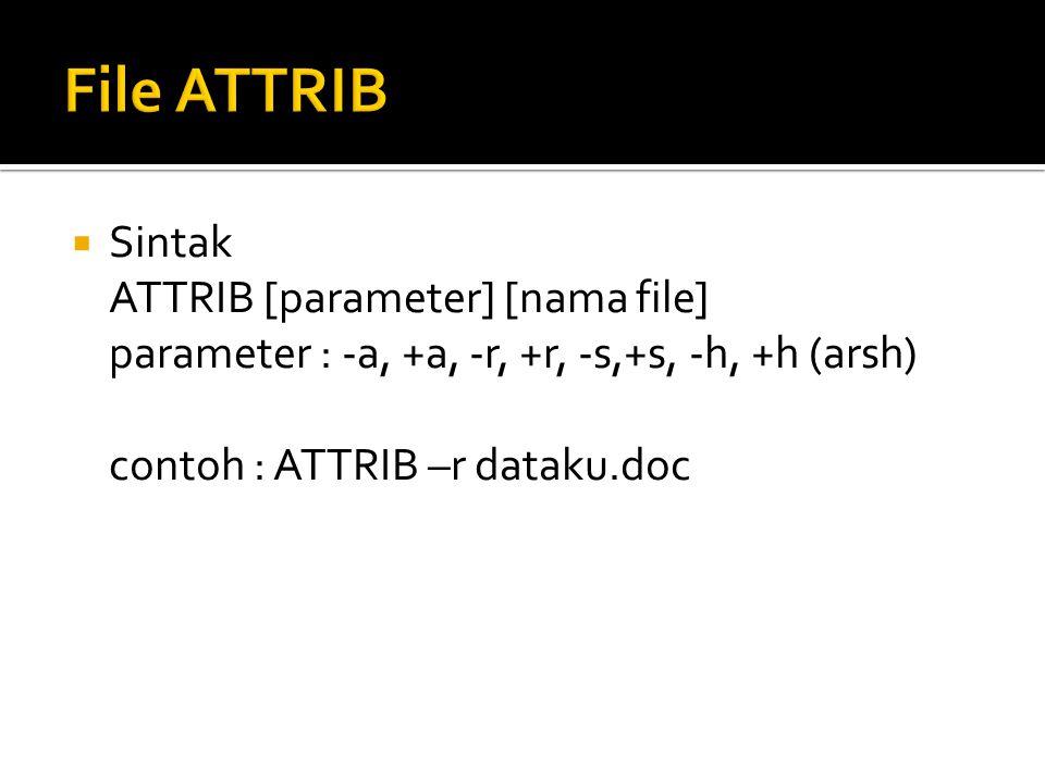  Sintak ATTRIB [parameter] [nama file] parameter : -a, +a, -r, +r, -s,+s, -h, +h (arsh) contoh : ATTRIB –r dataku.doc