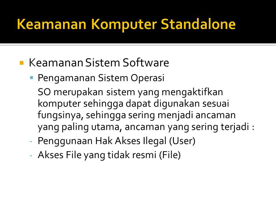  Keamanan Sistem Software  Pengamanan Sistem Operasi SO merupakan sistem yang mengaktifkan komputer sehingga dapat digunakan sesuai fungsinya, sehin