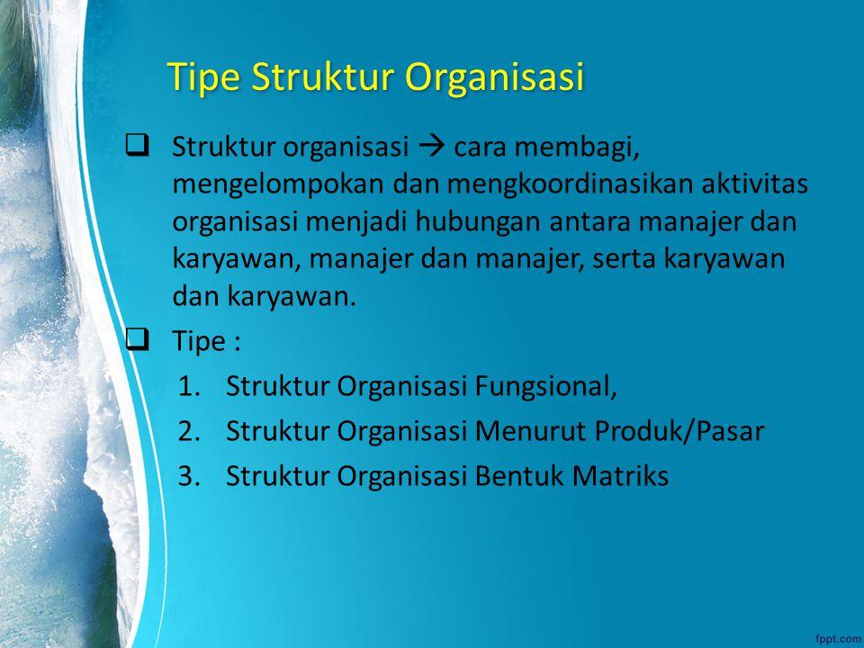 Tipe Struktur Organisasi  Struktur organisasi  cara membagi, mengelompokan dan mengkoordinasikan aktivitas organisasi menjadi hubungan antara manaje