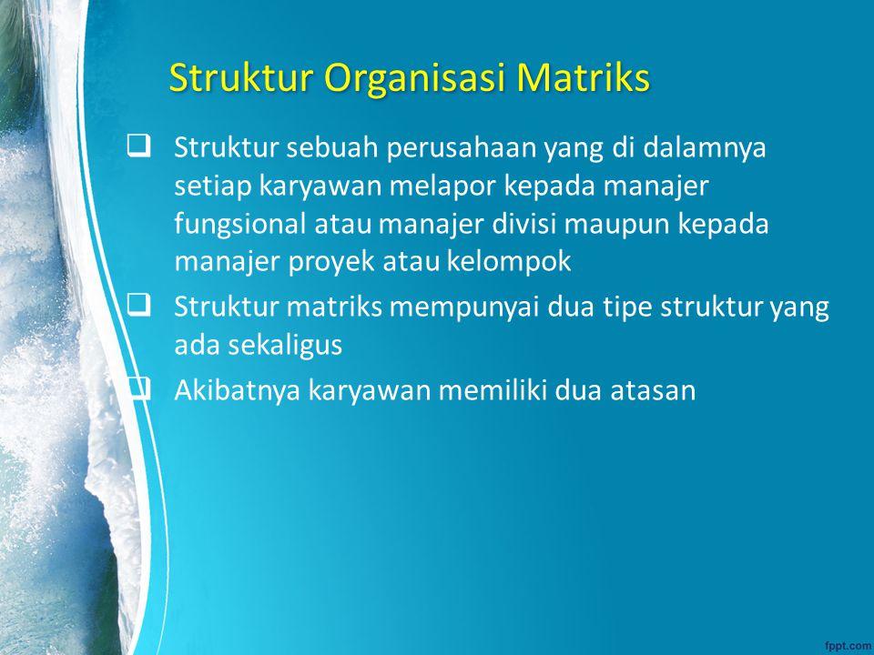 Struktur Organisasi Matriks  Struktur sebuah perusahaan yang di dalamnya setiap karyawan melapor kepada manajer fungsional atau manajer divisi maupun