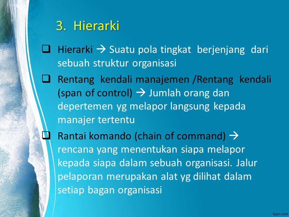 3. Hierarki  Hierarki  Suatu pola tingkat berjenjang dari sebuah struktur organisasi  Rentang kendali manajemen /Rentang kendali (span of control)