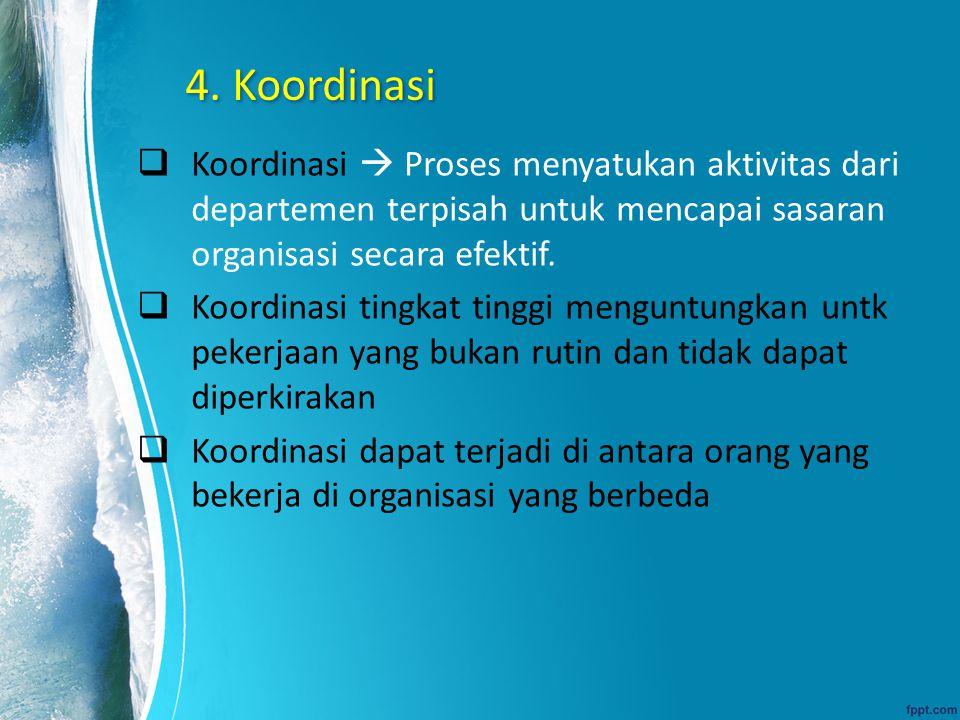 4. Koordinasi  Koordinasi  Proses menyatukan aktivitas dari departemen terpisah untuk mencapai sasaran organisasi secara efektif.  Koordinasi tingk