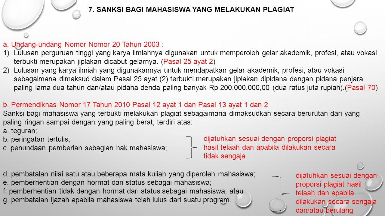 7. SANKSI BAGI MAHASISWA YANG MELAKUKAN PLAGIAT a. Undang-undang Nomor Nomor 20 Tahun 2003 : 1)Lulusan perguruan tinggi yang karya ilmiahnya digunakan