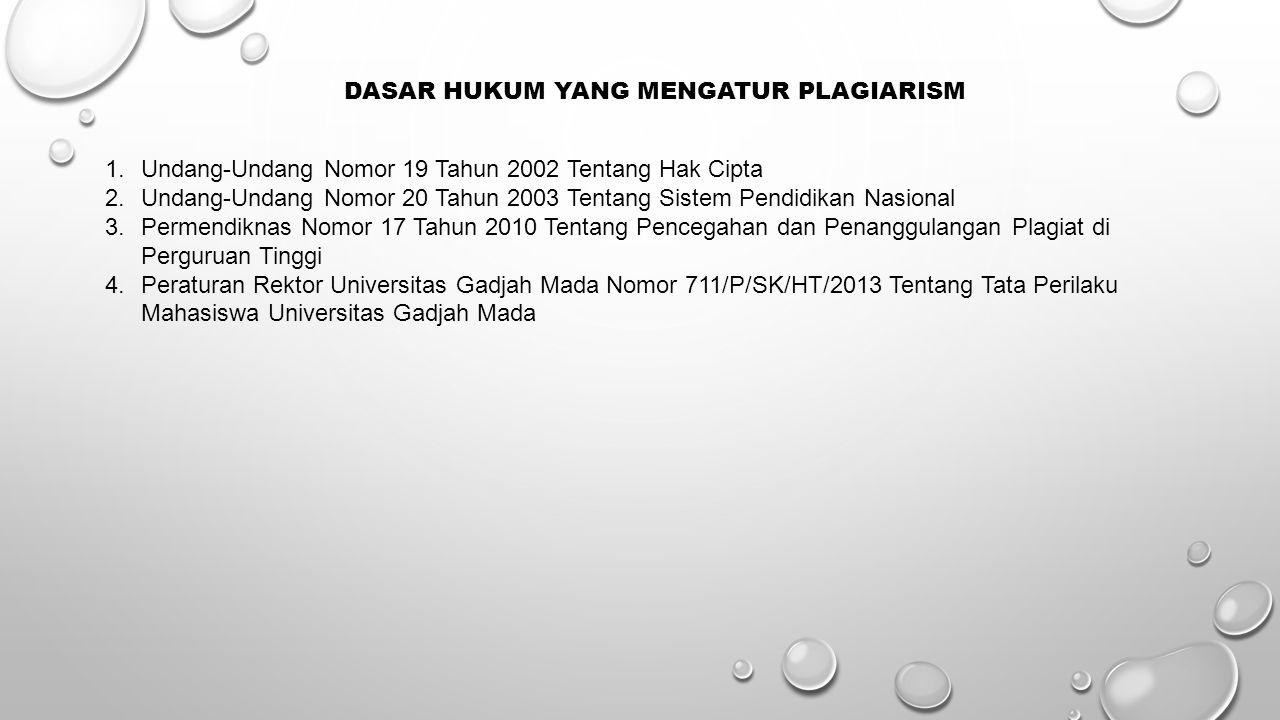 DASAR HUKUM YANG MENGATUR PLAGIARISM 1.Undang-Undang Nomor 19 Tahun 2002 Tentang Hak Cipta 2.Undang-Undang Nomor 20 Tahun 2003 Tentang Sistem Pendidik