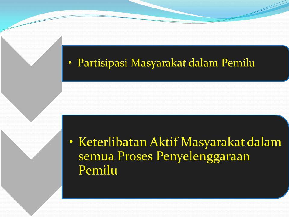Partisipasi Masyarakat dalam Pemilu Keterlibatan Aktif Masyarakat dalam semua Proses Penyelenggaraan Pemilu
