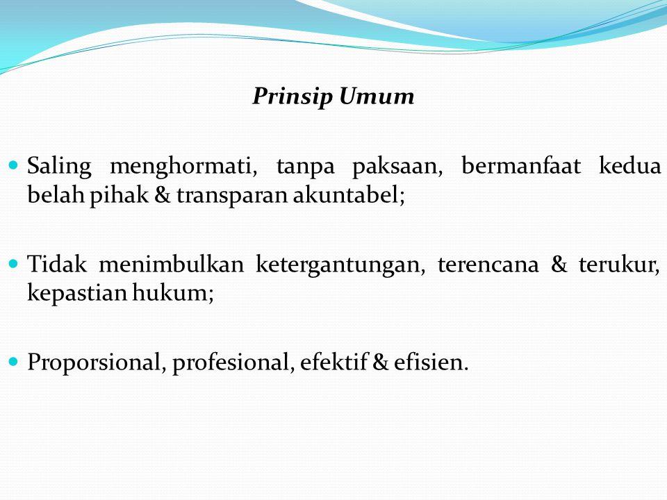 Prinsip Umum Saling menghormati, tanpa paksaan, bermanfaat kedua belah pihak & transparan akuntabel; Tidak menimbulkan ketergantungan, terencana & terukur, kepastian hukum; Proporsional, profesional, efektif & efisien.