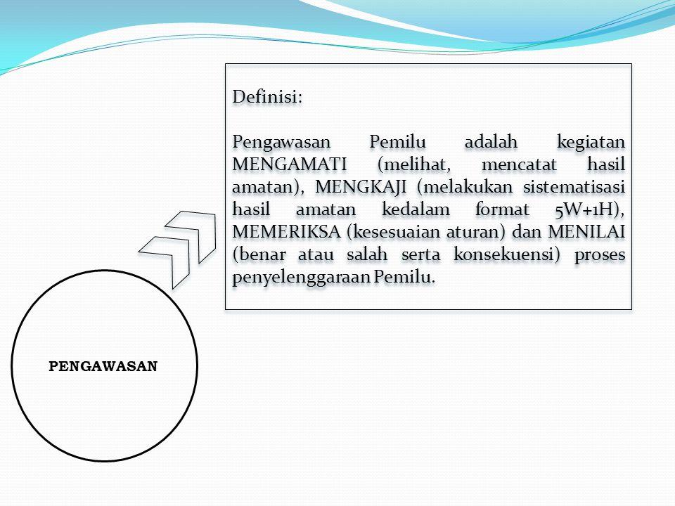 PENGAWASAN Definisi: Pengawasan Pemilu adalah kegiatan MENGAMATI (melihat, mencatat hasil amatan), MENGKAJI (melakukan sistematisasi hasil amatan kedalam format 5W+1H), MEMERIKSA (kesesuaian aturan) dan MENILAI (benar atau salah serta konsekuensi) proses penyelenggaraan Pemilu.
