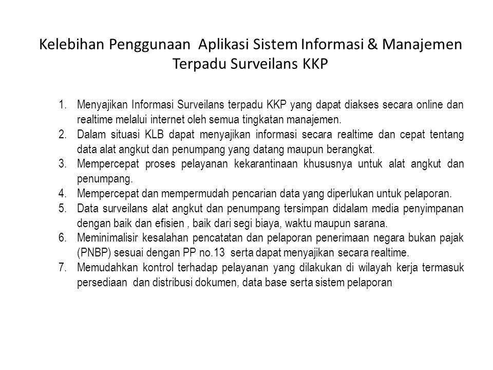 Kelebihan Penggunaan Aplikasi Sistem Informasi & Manajemen Terpadu Surveilans KKP 1.Menyajikan Informasi Surveilans terpadu KKP yang dapat diakses sec