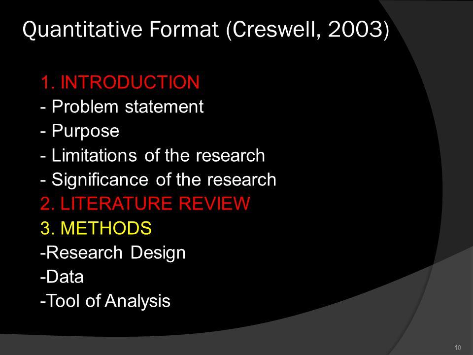 Quantitative Format (Creswell, 2003) 10 1.