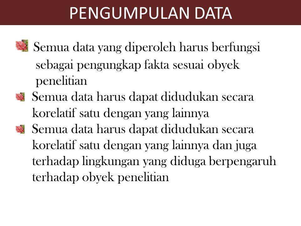 Semua data yang diperoleh harus berfungsi sebagai pengungkap fakta sesuai obyek penelitian Semua data harus dapat didudukan secara korelatif satu deng