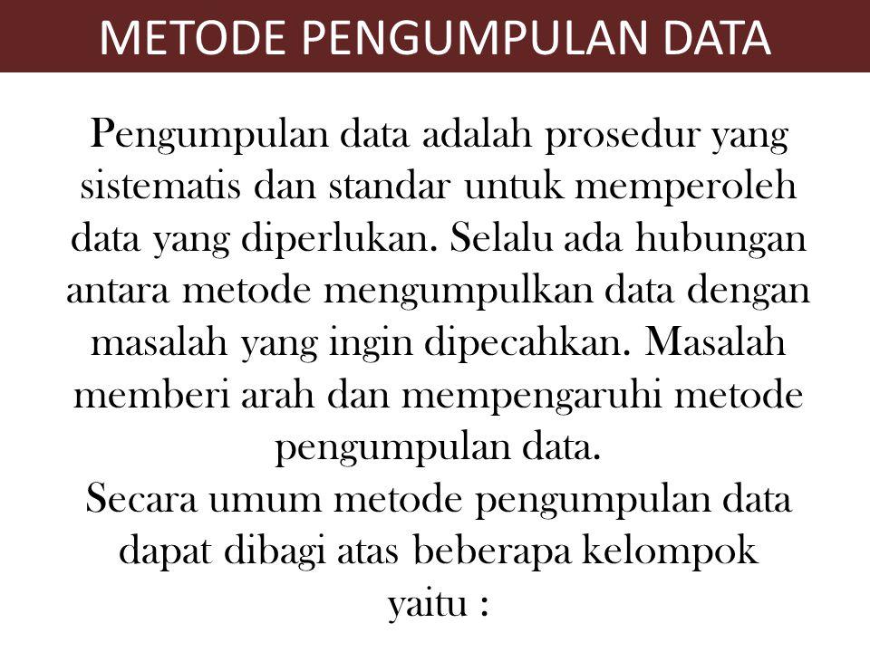 Metode pengamatan langsung Metode dengan menggunakan pertanyaan Metode khusus Metode PENGUMPULAN DATA