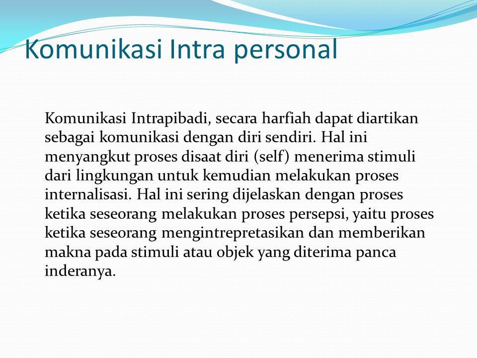 Komunikasi Intra personal Komunikasi Intrapibadi, secara harfiah dapat diartikan sebagai komunikasi dengan diri sendiri. Hal ini menyangkut proses dis