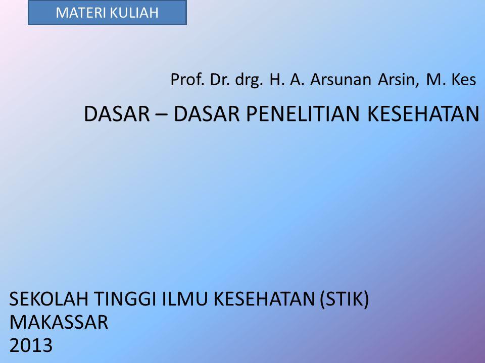 DASAR – DASAR PENELITIAN KESEHATAN Prof. Dr. drg. H. A. Arsunan Arsin, M. Kes SEKOLAH TINGGI ILMU KESEHATAN (STIK) MAKASSAR 2013 MATERI KULIAH