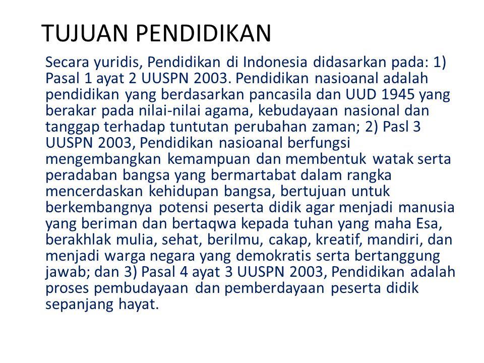 TUJUAN PENDIDIKAN Secara yuridis, Pendidikan di Indonesia didasarkan pada: 1) Pasal 1 ayat 2 UUSPN 2003. Pendidikan nasioanal adalah pendidikan yang b