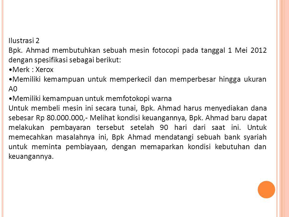 Ilustrasi 2 Bpk. Ahmad membutuhkan sebuah mesin fotocopi pada tanggal 1 Mei 2012 dengan spesifikasi sebagai berikut: Merk : Xerox Memiliki kemampuan u