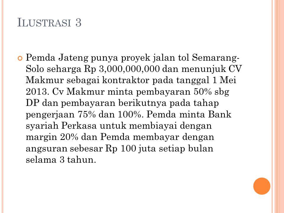 I LUSTRASI 3 Pemda Jateng punya proyek jalan tol Semarang- Solo seharga Rp 3,000,000,000 dan menunjuk CV Makmur sebagai kontraktor pada tanggal 1 Mei