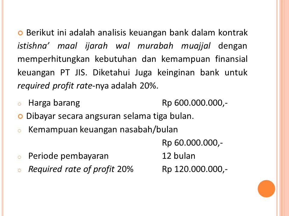 Berikut ini adalah analisis keuangan bank dalam kontrak istishna' maal ijarah wal murabah muajjal dengan memperhitungkan kebutuhan dan kemampuan finan