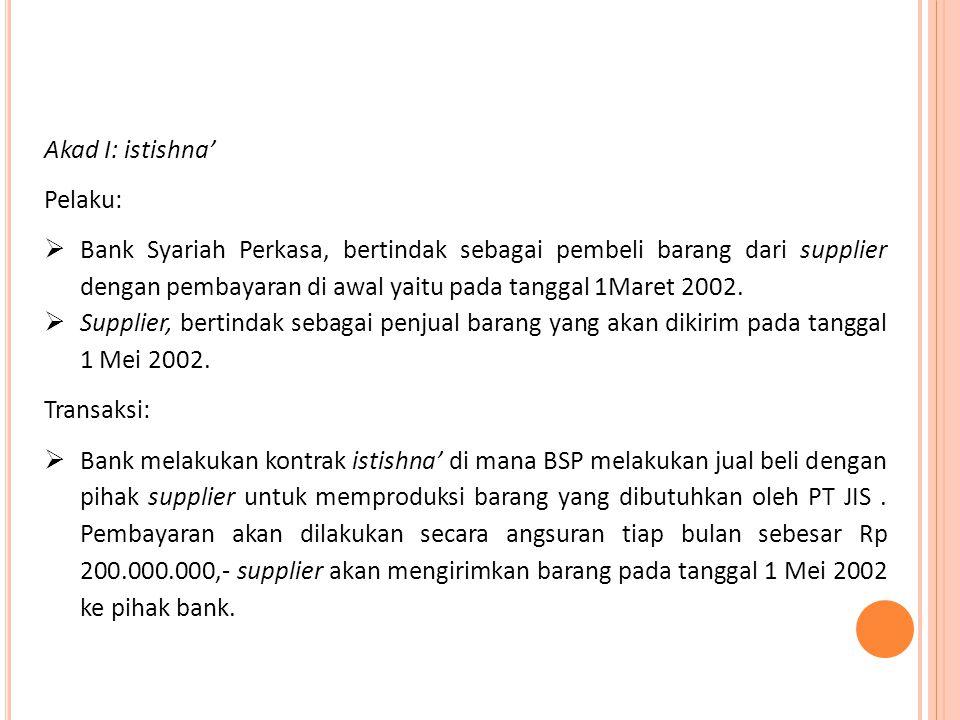 Akad I: istishna' Pelaku:  Bank Syariah Perkasa, bertindak sebagai pembeli barang dari supplier dengan pembayaran di awal yaitu pada tanggal 1Maret 2