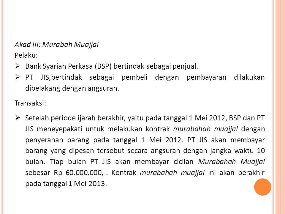 Akad III: Murabah Muajjal Pelaku:  Bank Syariah Perkasa (BSP) bertindak sebagai penjual.  PT JIS,bertindak sebagai pembeli dengan pembayaran dilakuk
