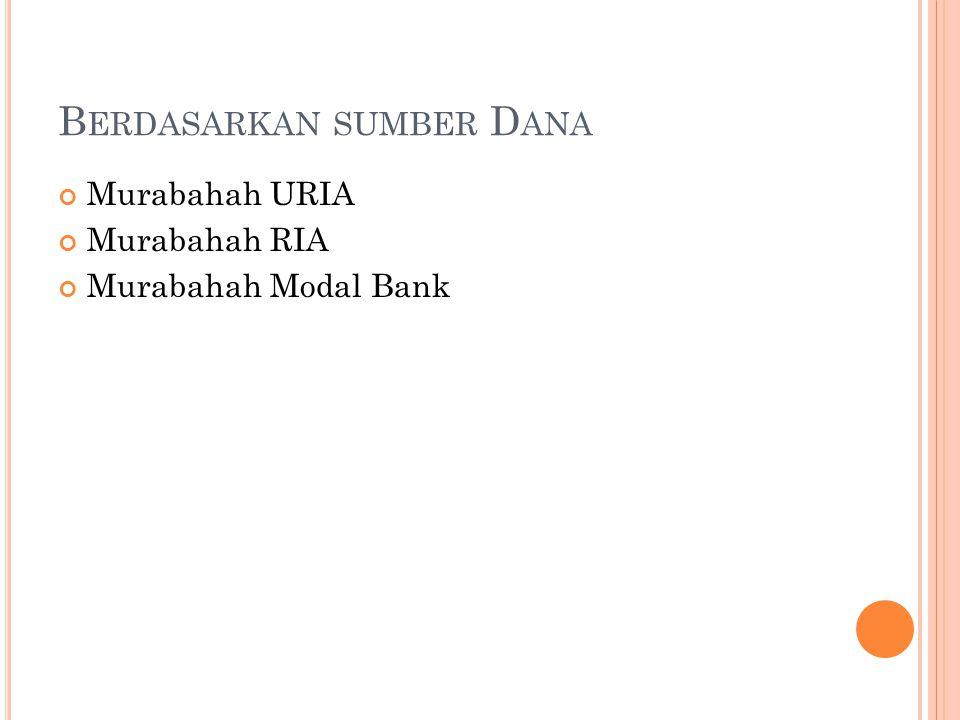 B ERDASARKAN SUMBER D ANA Murabahah URIA Murabahah RIA Murabahah Modal Bank