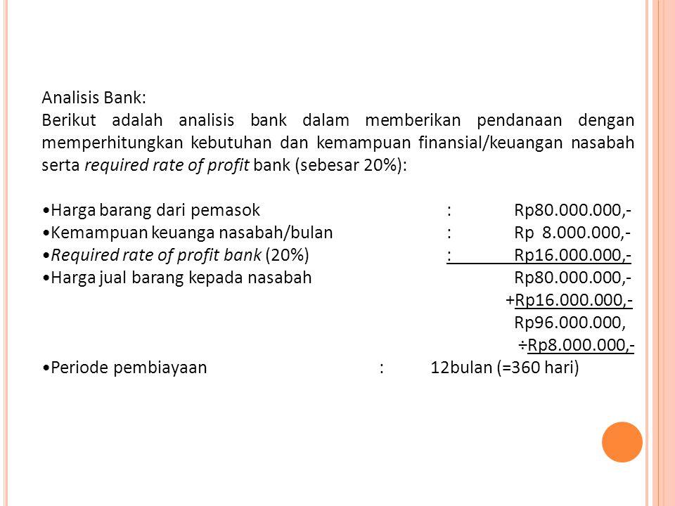 Dengan analisis tersebut maka bentuk pembiayaan yang diberikan oleh bank kepada Bpk.